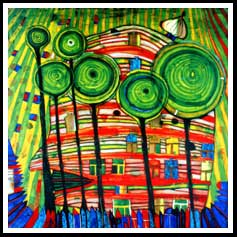 F Hundertwasser - The Blob Grows in the Beloved Gardens 1975